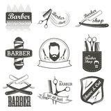 Set of vintage barber shop logo, labels, badges Royalty Free Stock Photos