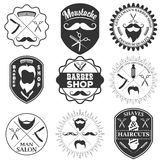 Set of vintage barber shop logo templates, labels and badges mad Stock Photos