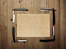 Set of vintage barber shop tools and kraft paper Stock Photos