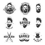 Set of vintage barber shop vector emblems, label, badges and design elements. royalty free illustration