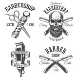 Set of vintage barbershop emblems. Labels, badges, logos. Layered. Text is on separate layer. Isolated on white Stock Photography