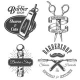 Set of vintage barbershop emblems. Labels, badges, logos. Layered. Text is on separate layer.  on white Royalty Free Stock Photography