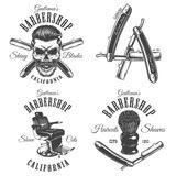 Set of vintage barbershop emblems. Labels, badges, logos. Layered. Text is on separate layer.  on white Stock Image