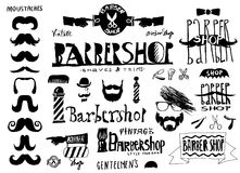 Set of vintage Barbershop (hair salon) logo, labels, street sign Royalty Free Stock Photos