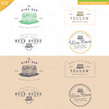 Set of vintage barrel logo design for alcohol handmade craft Stock Photos