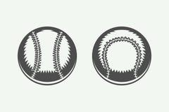Set of vintage baseball balls. Illustration Black and White stock illustration