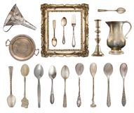 Set of vintage beautiful items. Silverware, frame, kettle, funnel and more isolated on white background. Set of vintage beautiful items. Silverware, frame royalty free stock photography