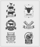 Set of vintage beef labels, logos and badges. Vector design elements stock illustration