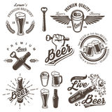 Set of vintage beer brewery emblems. Labels, logos, badges and designed elements. Monochrome style. Isolated on white background Stock Image