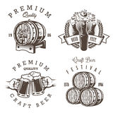 Set of vintage beer brewery emblems Stock Photography