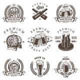 Set of vintage beer brewery emblems. Labels, logos, badges and designed elements. Monochrome style.  on white background Royalty Free Stock Photo