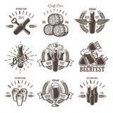 Set of vintage beer festival emblems vector illustration