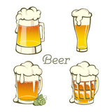 Set of  vintage Beer in glass Stock Photo