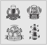 Set of vintage beer labels. Vector royalty free illustration
