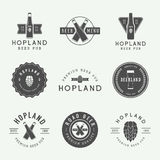 Set of vintage beer and pub logos, labels and emblems with bottles, hops, and wheat. Set of vintage beer and pub logos, labels and emblems with bottles, hops royalty free illustration