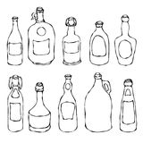 Set of Vintage Beer and Vine Bottles. Isolated On a White Background. Realistic Doodle Cartoon Style Hand Drawn Sketch Vector Illu. Set of Vintage Beer and Vine Royalty Free Illustration