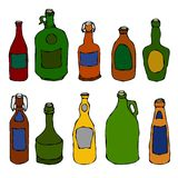 Set of Vintage Beer and Vine Bottles. Isolated On a White Background. Realistic Doodle Cartoon Style Hand Drawn Sketch Vector Illu. Set of Vintage Beer and Vine Vector Illustration