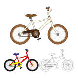 Set of Vintage Bicycle. Colorful Retro Bicycle. Black White Bicycle. Stock Photos