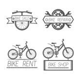 Set of vintage bike and bicycle equipment elements in monochrome style logos, emblems, labels and badges. Royalty Free Stock Image