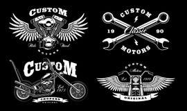 Set of 4 vintage biker illustrations on dark background_1 stock illustration