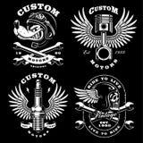Set of 4 vintage biker illustrations on dark background_2. Set of 4 vintage motorcycle illustrations, logos, badges, prints. Vintage style. VERSION FOR DARK Royalty Free Stock Images