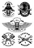 Set of 5 vintage biker illustrations on white background_2 Royalty Free Stock Image