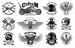 Set with 12 vintage biker illustrations on white background. Set of vintage custom motorcycle design templates. All elements, text are on the separate layer Stock Images