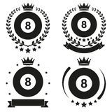 Set of Vintage Billiard Club Badge and Label Royalty Free Stock Photos