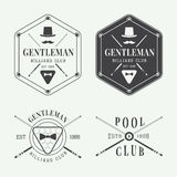 Set of vintage billiard labels, emblems and logo Stock Photo