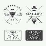 Set of vintage billiard labels, emblems and logos Stock Photography