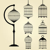 Set of vintage bird cages Royalty Free Stock Photos