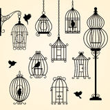 Set of vintage bird cages Royalty Free Stock Image