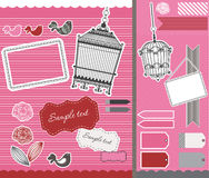 Set with vintage birdcage and frames Royalty Free Stock Image