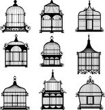 Set of 9 vintage birdcages Stock Photos