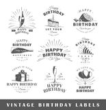 Set of vintage birthday labels Royalty Free Stock Photography