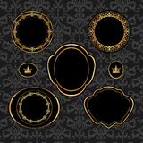 Set of vintage golden frames on gray damask backgr Stock Photos