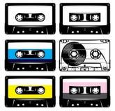 Set of vintage black plastic and transparent cassette Royalty Free Stock Images