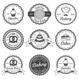 Set of vintage black and white bakery emblems Royalty Free Stock Photography