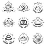 Set of vintage black and white bakery emblems Royalty Free Stock Images