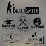 Set of vintage blacksmith labels and design elements Stock Images