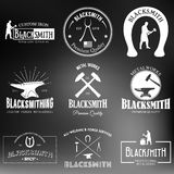Set of vintage blacksmith labels and design elements Stock Photos