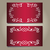 Set of vintage blank empty dark red purple elegance cards with curly white floral pattern. Vector illustration. Royal design for princess, glamour girl and Royalty Free Stock Photos