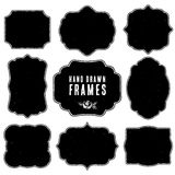 Set of vintage blank frames and labels. Hand drawn  Royalty Free Stock Image