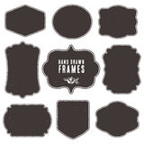 Set of vintage blank frames and labels. Hand drawn vector vector illustration