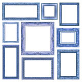 Set of Vintage blue frame with blank space, clipping path Stock Images