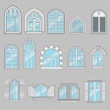 Set of vintage blue windows. Made in vector Royalty Free Stock Photos