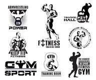 Set of vintage Bodybuilding and fitness room logos, design elements. Stock Photo