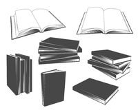 Set of vintage book illustrations and icons stock illustration