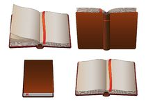 Set of vintage books or diaries with copy space. stock illustration