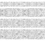 Set of vintage border brushes templates. Baroque floral elements for frames design and page decorations. Set of seamless vintage border brushes templates Stock Photos
